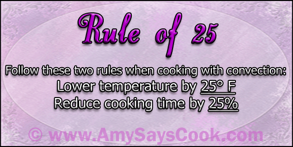 Rule of 25 When Cooking With Convection
